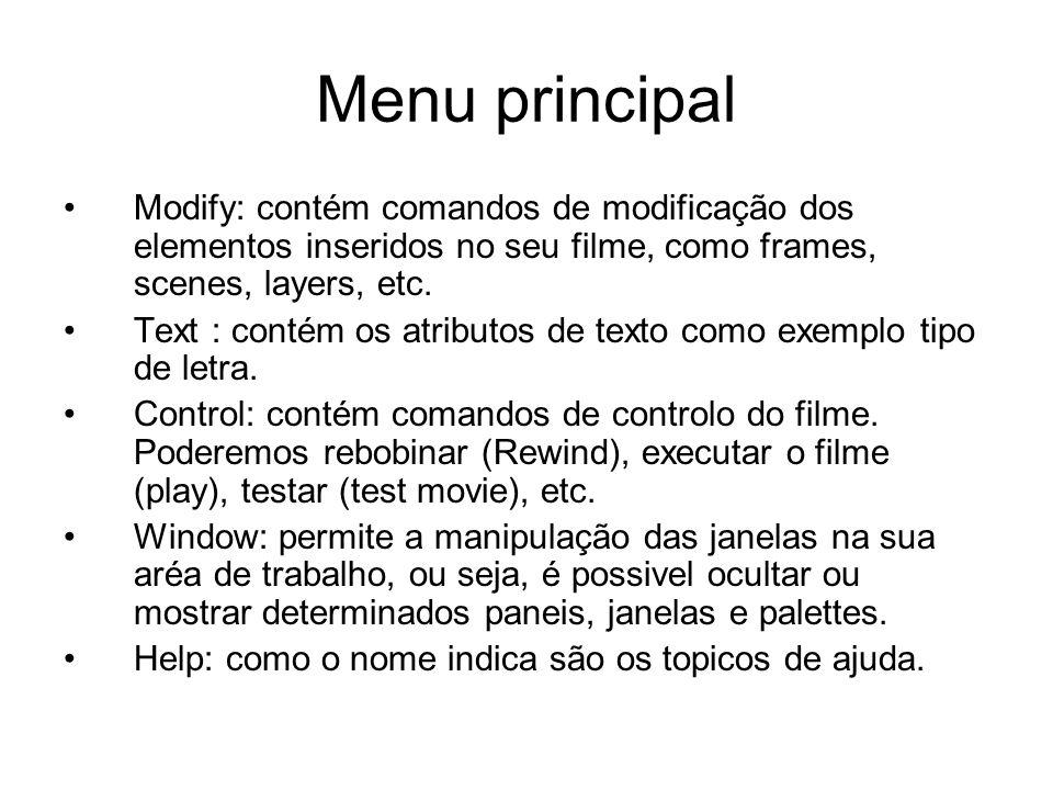 Menu principal Modify: contém comandos de modificação dos elementos inseridos no seu filme, como frames, scenes, layers, etc. Text : contém os atribut