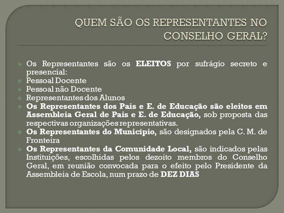 Os Representantes são os ELEITOS por sufrágio secreto e presencial: Pessoal Docente Pessoal não Docente Representantes dos Alunos Os Representantes dos Pais e E.