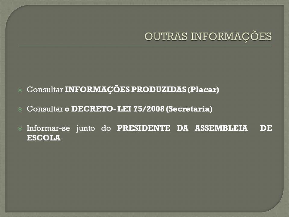 Consultar INFORMAÇÕES PRODUZIDAS (Placar) Consultar o DECRETO- LEI 75/2008 (Secretaria) Informar-se junto do PRESIDENTE DA ASSEMBLEIA DE ESCOLA