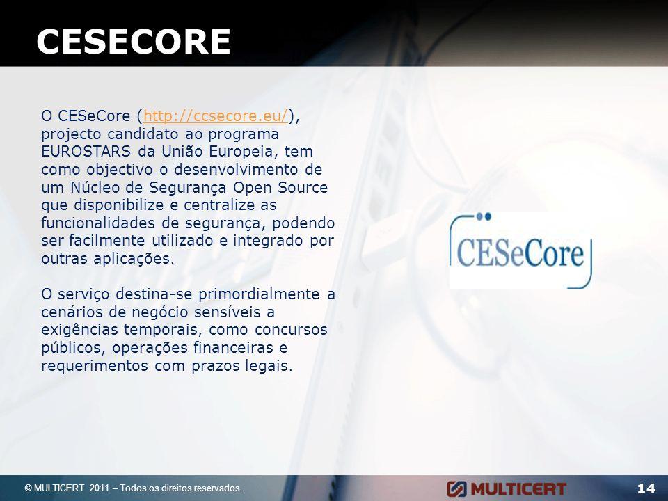 14 © MULTICERT 2011 – Todos os direitos reservados. CESECORE O CESeCore (http://ccsecore.eu/), projecto candidato ao programa EUROSTARS da União Europ