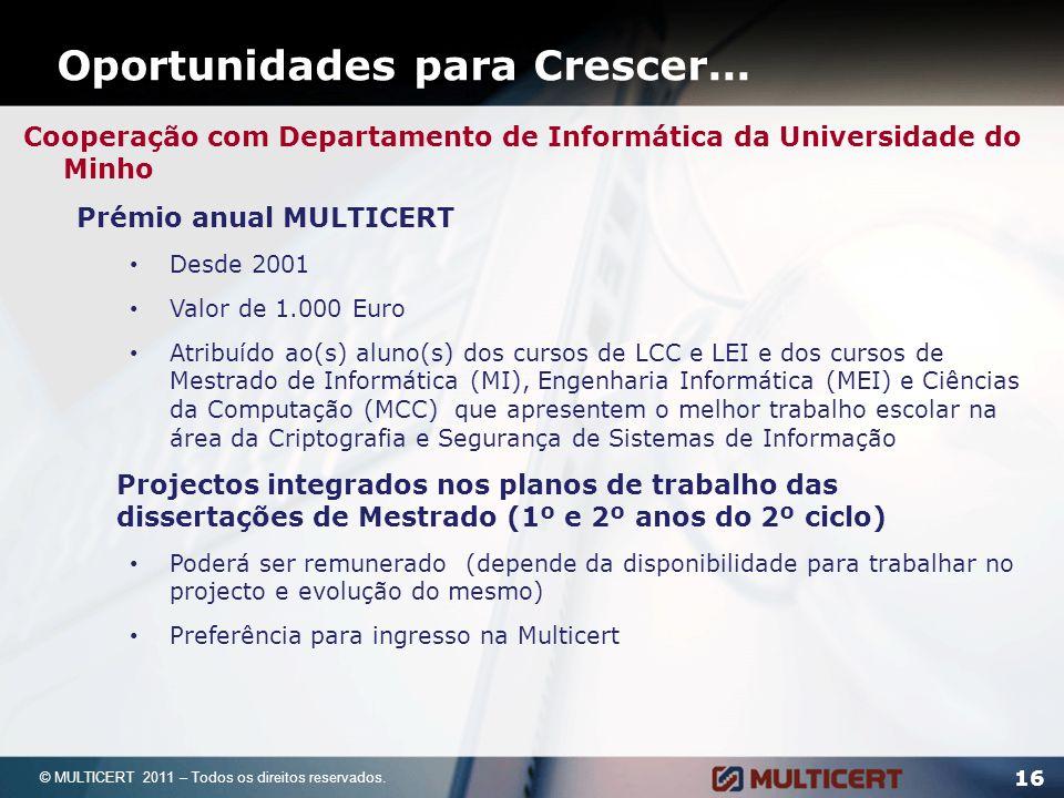 Oportunidades para Crescer... 16 © MULTICERT 2011 – Todos os direitos reservados. Cooperação com Departamento de Informática da Universidade do Minho