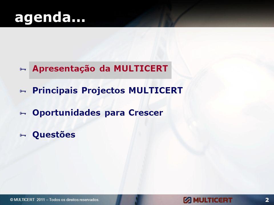 MULTICERT 3 Empresa de soluções tecnológicas e serviços de Certificação Electrónica, participando activamente no desenvolvimento da Sociedade de Informação e da Economia Digital.
