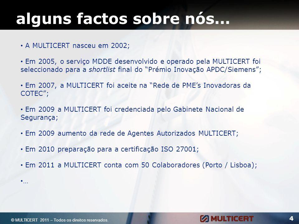 alguns factos sobre nós... 4 A MULTICERT nasceu em 2002; Em 2005, o serviço MDDE desenvolvido e operado pela MULTICERT foi seleccionado para a shortli