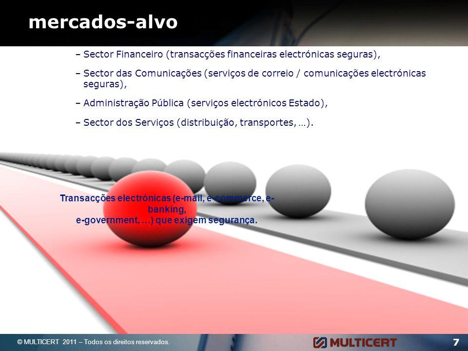 7 mercados-alvo –Sector Financeiro (transacções financeiras electrónicas seguras), –Sector das Comunicações (serviços de correio / comunicações electrónicas seguras), –Administração Pública (serviços electrónicos Estado), –Sector dos Serviços (distribuição, transportes, …).
