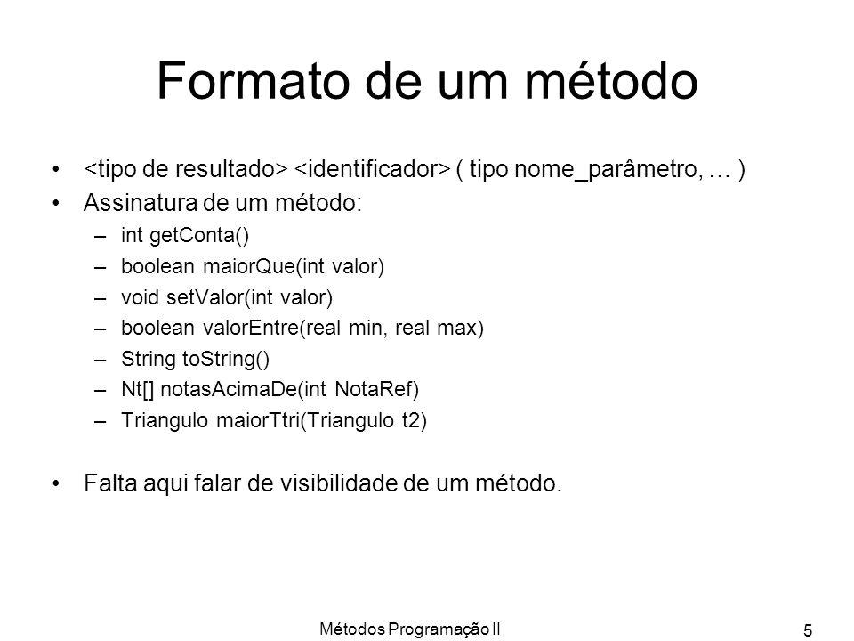 Métodos Programação II 5 Formato de um método ( tipo nome_parâmetro, … ) Assinatura de um método: –int getConta() –boolean maiorQue(int valor) –void setValor(int valor) –boolean valorEntre(real min, real max) –String toString() –Nt[] notasAcimaDe(int NotaRef) –Triangulo maiorTtri(Triangulo t2) Falta aqui falar de visibilidade de um método.