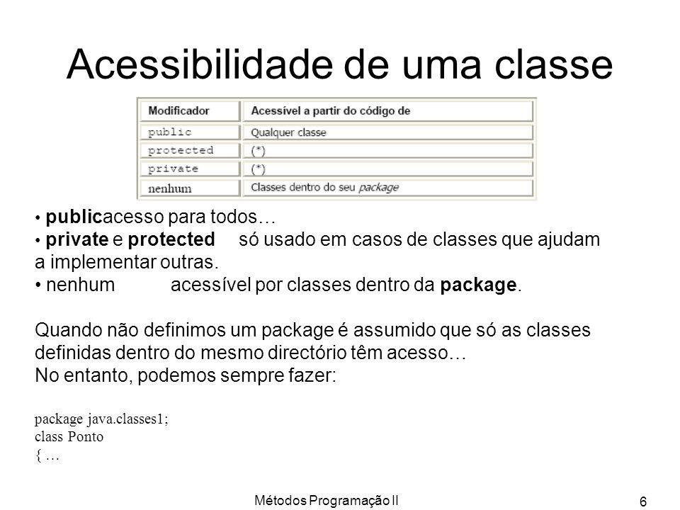 Métodos Programação II 6 Acessibilidade de uma classe publicacesso para todos… private e protectedsó usado em casos de classes que ajudam a implementar outras.