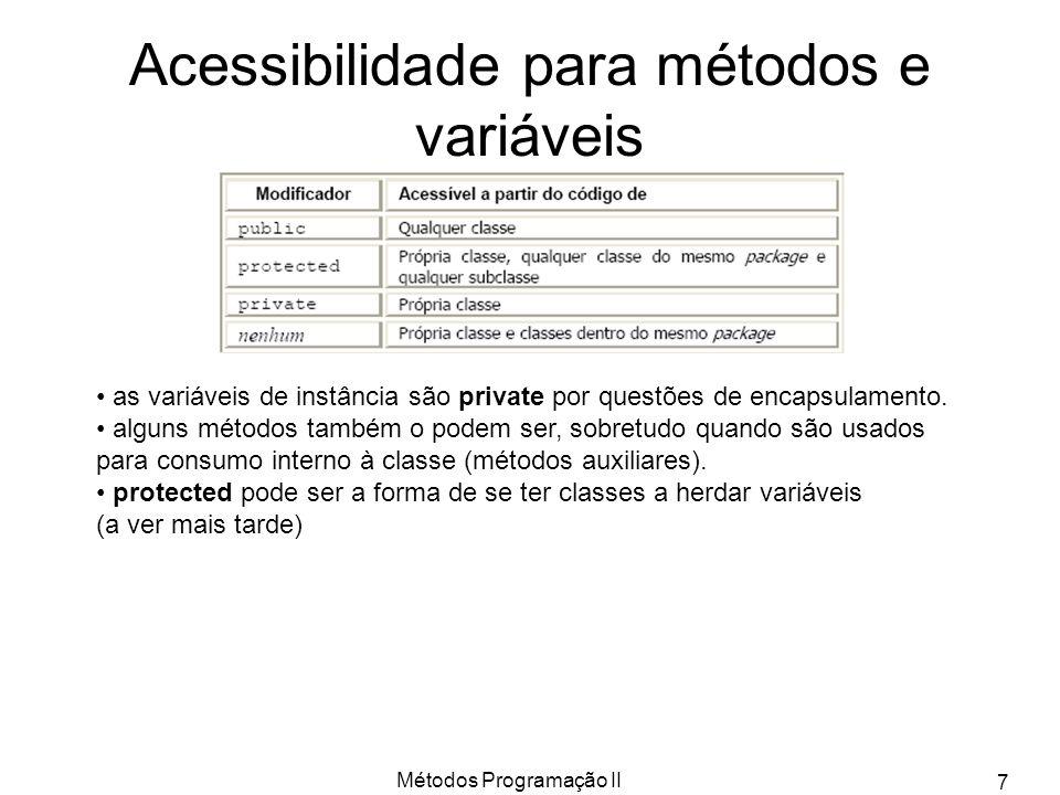 Métodos Programação II 7 Acessibilidade para métodos e variáveis as variáveis de instância são private por questões de encapsulamento.