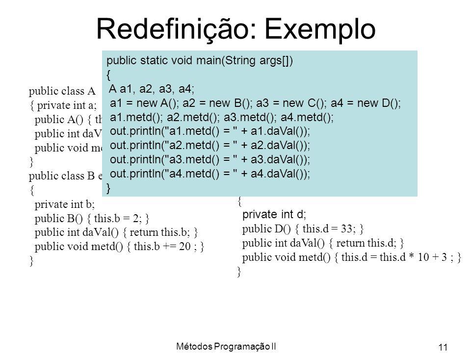 Métodos Programação II 11 Redefinição: Exemplo public class A { private int a; public A() { this.a = 1; } public int daVal() { return this.a; } public