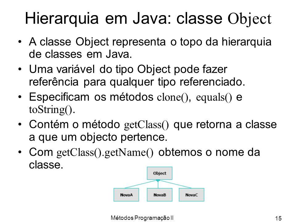 Métodos Programação II 15 Hierarquia em Java: classe Object A classe Object representa o topo da hierarquia de classes em Java. Uma variável do tipo O