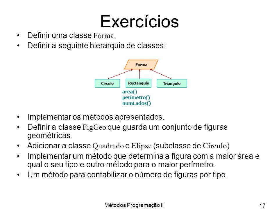 Métodos Programação II 17 Exercícios Definir uma classe Forma. Definir a seguinte hierarquia de classes: Implementar os métodos apresentados. Definir