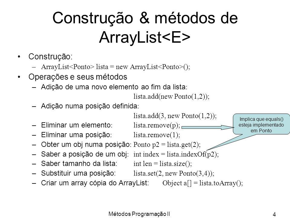 Métodos Programação II 5 Exercício: class Banco usando ArrayList class Banco {private ArrayList lista; private String nome; private double saldo; Banco(String n) { this.nome = n; this.lista = new ArrayList (); this.saldo = 0.0; } public void taxas(double valor) { for(Conta c:this.lista) c.debito(valor); } public double saldo_banco() { double temp = 0.0; for(Conta c:this.lista) temp += c.getSaldo(); return(temp); }