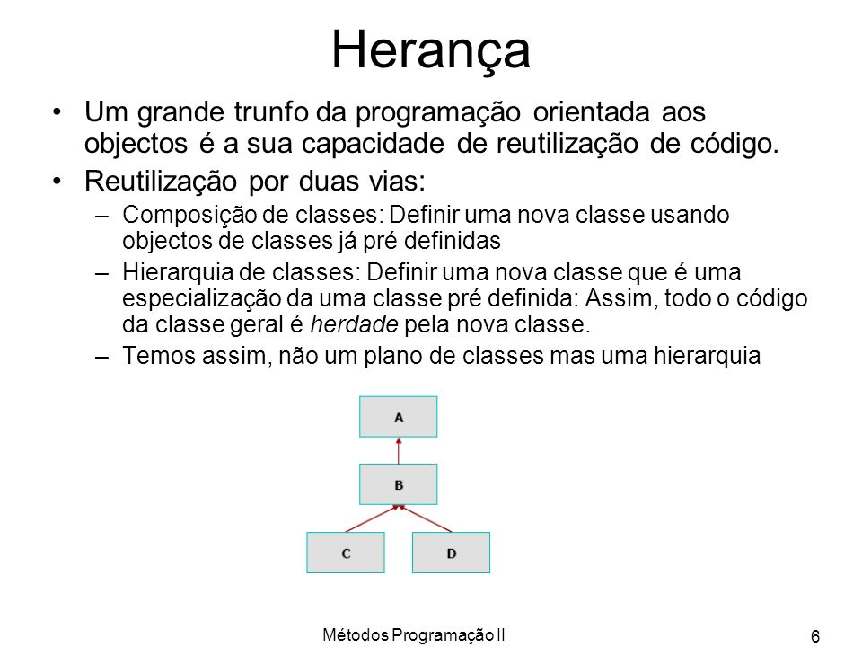 Métodos Programação II 7 Herança: Exemplo Temos a classe Ponto (2 dimensões) que passamos a chamar Ponto2D.