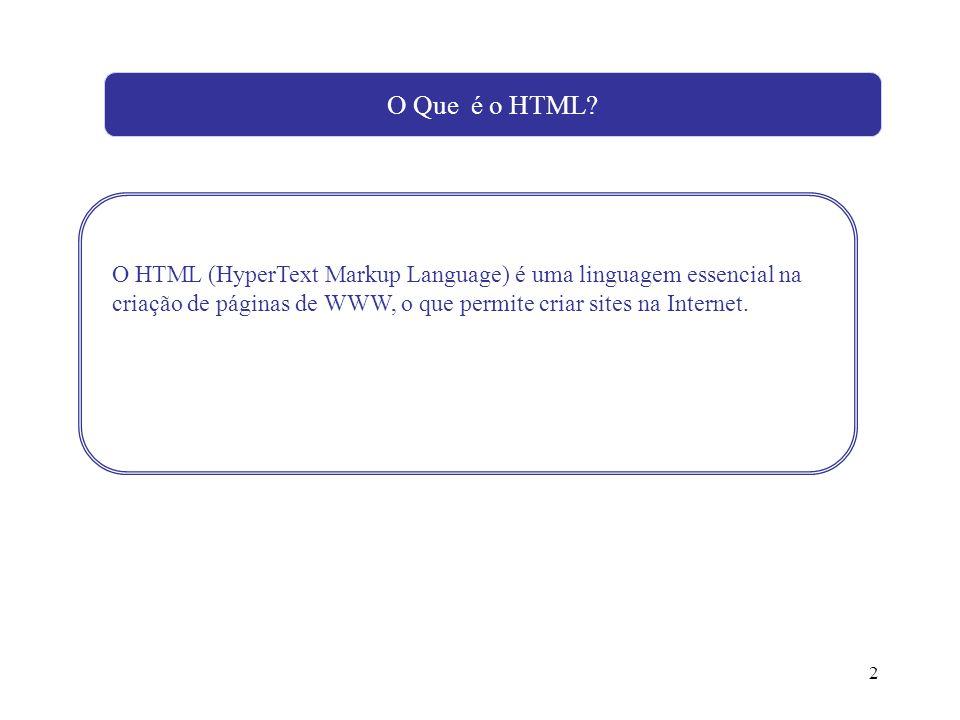 2 O HTML (HyperText Markup Language) é uma linguagem essencial na criação de páginas de WWW, o que permite criar sites na Internet. O Que é o HTML?
