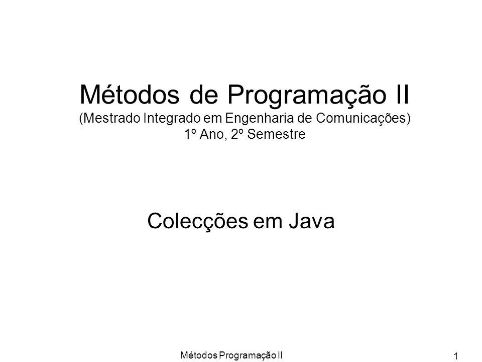 Métodos Programação II 2 Colecções O Java fornece um conjunto de classes e interfaces para representar um conjunto de tipos abstractos de dados.
