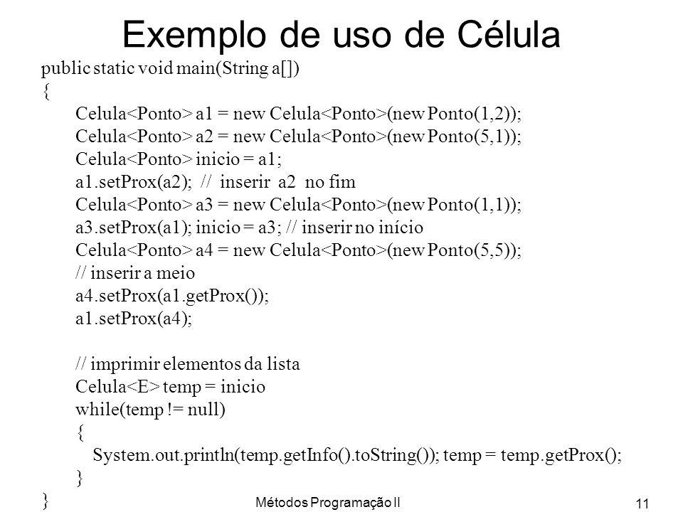 Métodos Programação II 11 Exemplo de uso de Célula public static void main(String a[]) { Celula a1 = new Celula (new Ponto(1,2)); Celula a2 = new Celu