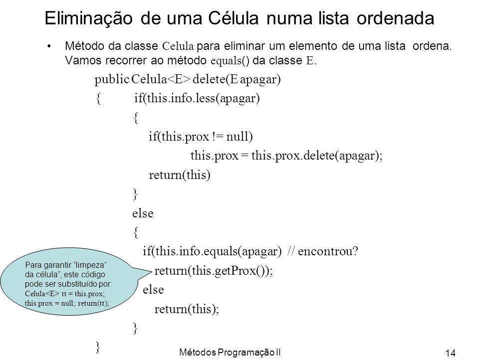 Métodos Programação II 14 Eliminação de uma Célula numa lista ordenada Método da classe Celula para eliminar um elemento de uma lista ordena. Vamos re
