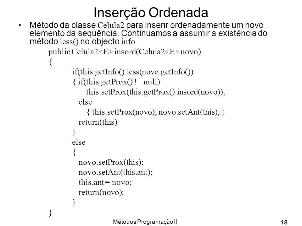 Métodos Programação II 18 Inserção Ordenada Método da classe Celula2 para inserir ordenadamente um novo elemento da sequência. Continuamos a assumir a