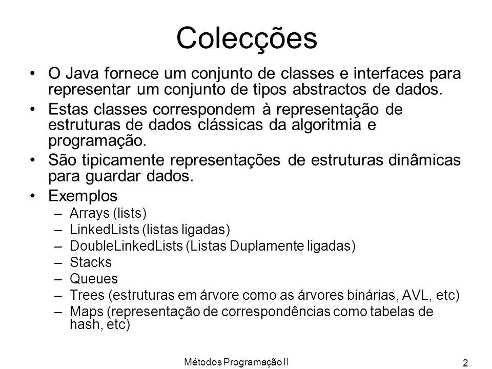 Métodos Programação II 3 Hierarquia Java de Colecções As classes (e interfaces) são sempre parametrizadas (tipos Genéricos) ArrayList é já nossa conhecida e é uma implementação de List, que por sua vez é uma Collection.