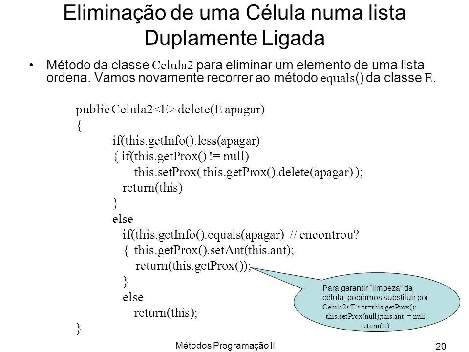 Métodos Programação II 20 Eliminação de uma Célula numa lista Duplamente Ligada Método da classe Celula2 para eliminar um elemento de uma lista ordena