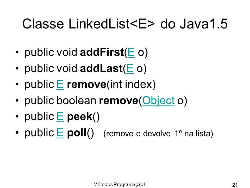 Métodos Programação II 21 Classe LinkedList do Java1.5 public void addFirst(E o)E public void addLast(E o)E public E remove(int index)E public boolean