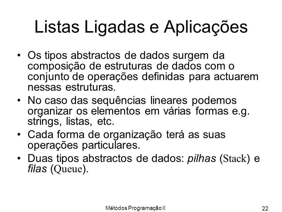 Métodos Programação II 22 Listas Ligadas e Aplicações Os tipos abstractos de dados surgem da composição de estruturas de dados com o conjunto de opera