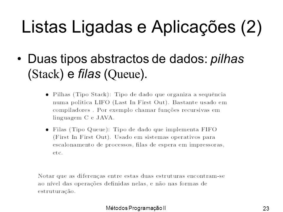 Métodos Programação II 23 Listas Ligadas e Aplicações (2) Duas tipos abstractos de dados: pilhas ( Stack ) e filas ( Queue ).