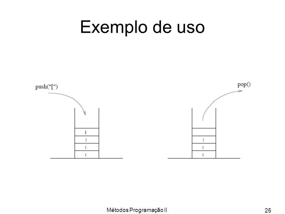 Métodos Programação II 25 Exemplo de uso