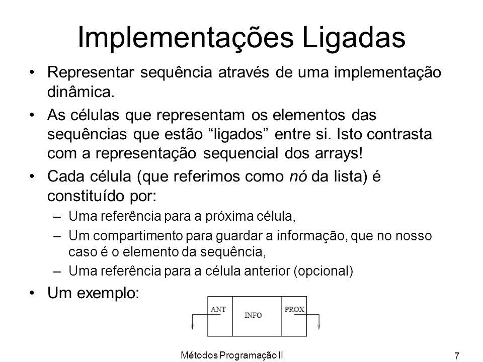 Métodos Programação II 7 Implementações Ligadas Representar sequência através de uma implementação dinâmica. As células que representam os elementos d