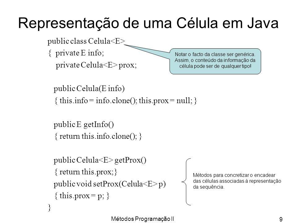 Métodos Programação II 9 Representação de uma Célula em Java public class Celula { private E info; private Celula prox; public Celula(E info) { this.i