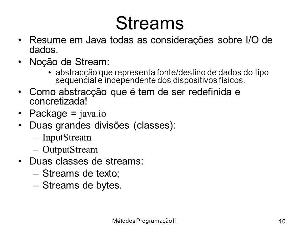 Métodos Programação II 10 Streams Resume em Java todas as considerações sobre I/O de dados. Noção de Stream: abstracção que representa fonte/destino d