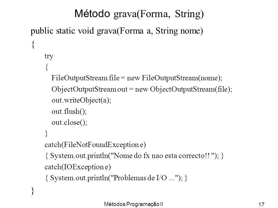 Métodos Programação II 17 Método grava(Forma, String) public static void grava(Forma a, String nome) { try { FileOutputStream file = new FileOutputStr