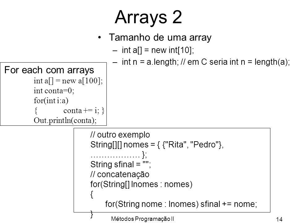 Métodos Programação II 14 Arrays 2 Tamanho de uma array –int a[] = new int[10]; –int n = a.length; // em C seria int n = length(a); // outro exemplo S