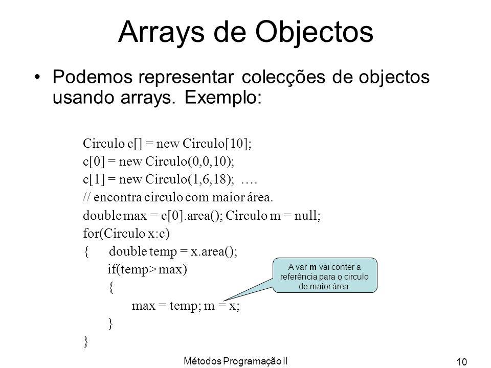 Métodos Programação II 10 Arrays de Objectos Podemos representar colecções de objectos usando arrays.