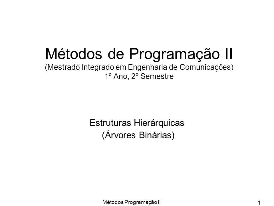 Métodos Programação II 1 Métodos de Programação II (Mestrado Integrado em Engenharia de Comunicações) 1º Ano, 2º Semestre Estruturas Hierárquicas (Árv