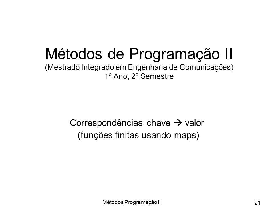 Métodos Programação II 21 Métodos de Programação II (Mestrado Integrado em Engenharia de Comunicações) 1º Ano, 2º Semestre Correspondências chave valo