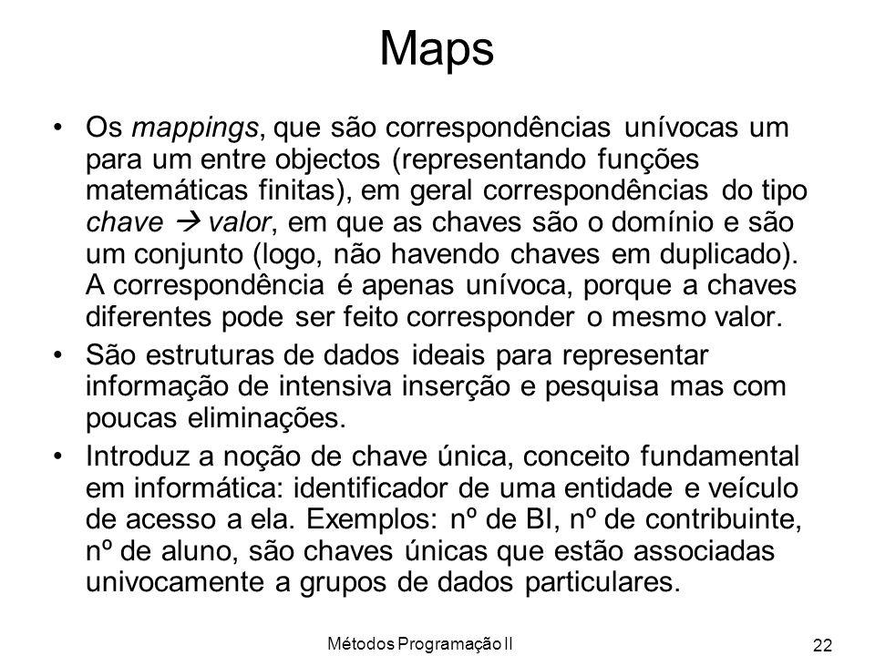 Métodos Programação II 22 Maps Os mappings, que são correspondências unívocas um para um entre objectos (representando funções matemáticas finitas), e