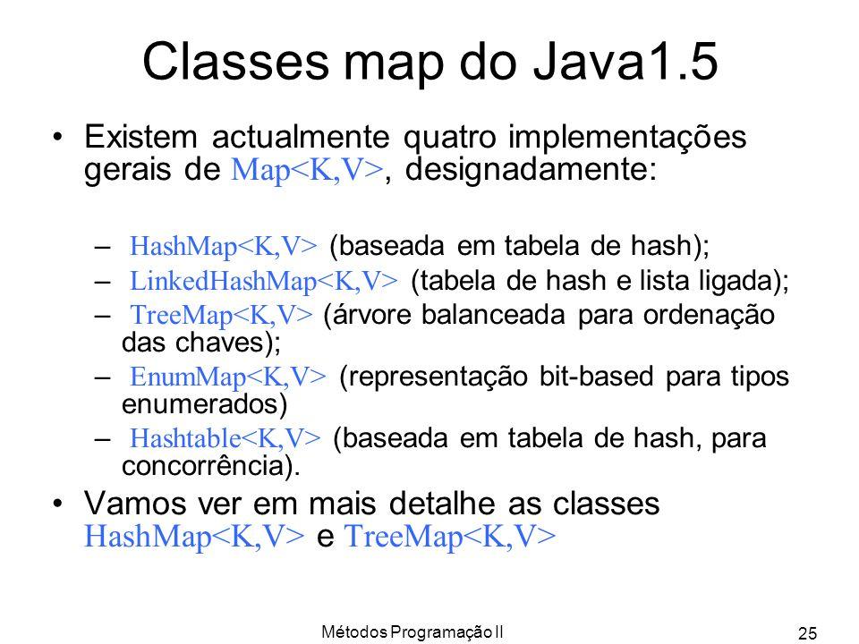 Métodos Programação II 25 Classes map do Java1.5 Existem actualmente quatro implementações gerais de Map, designadamente: – HashMap (baseada em tabela