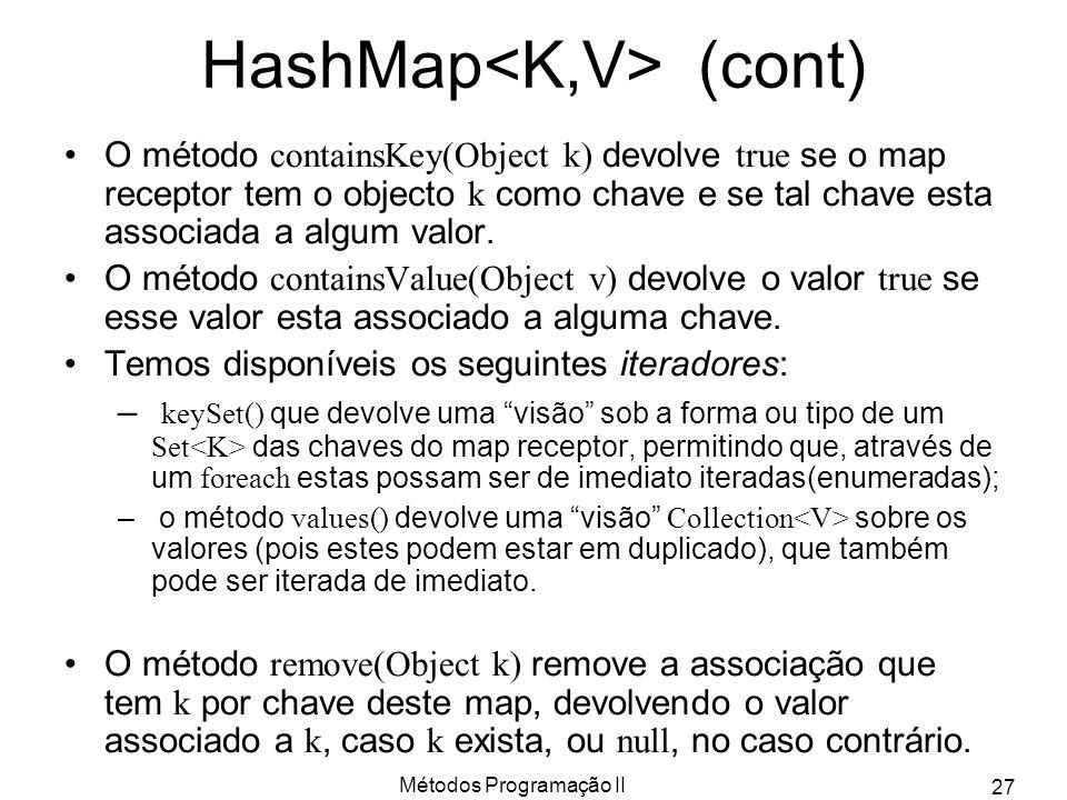 Métodos Programação II 27 HashMap (cont) O método containsKey(Object k) devolve true se o map receptor tem o objecto k como chave e se tal chave esta