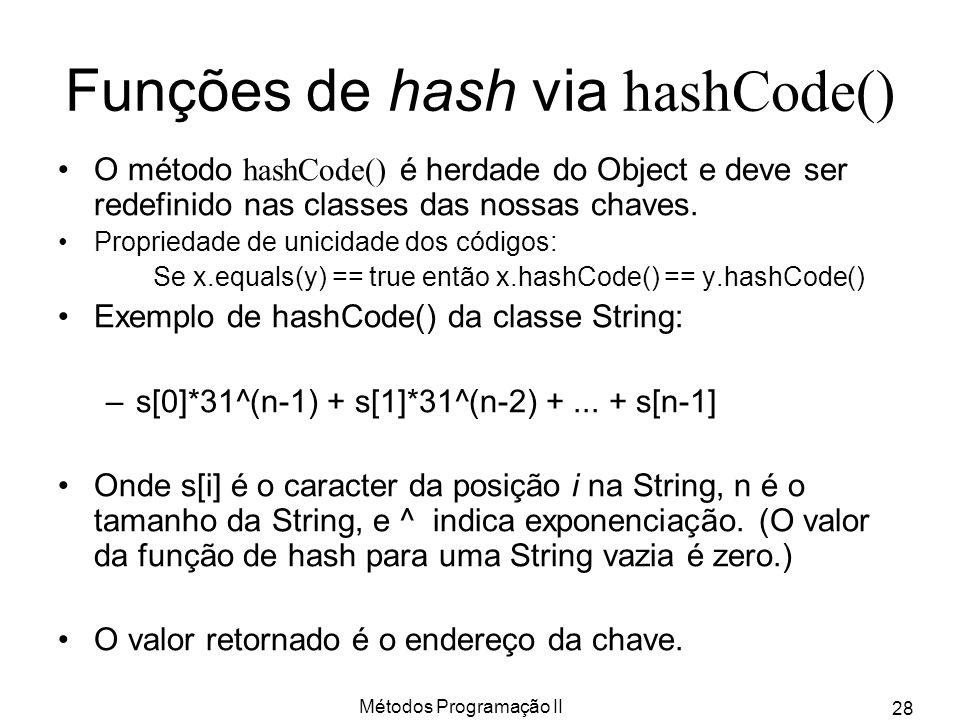Métodos Programação II 28 Funções de hash via hashCode() O método hashCode() é herdade do Object e deve ser redefinido nas classes das nossas chaves.
