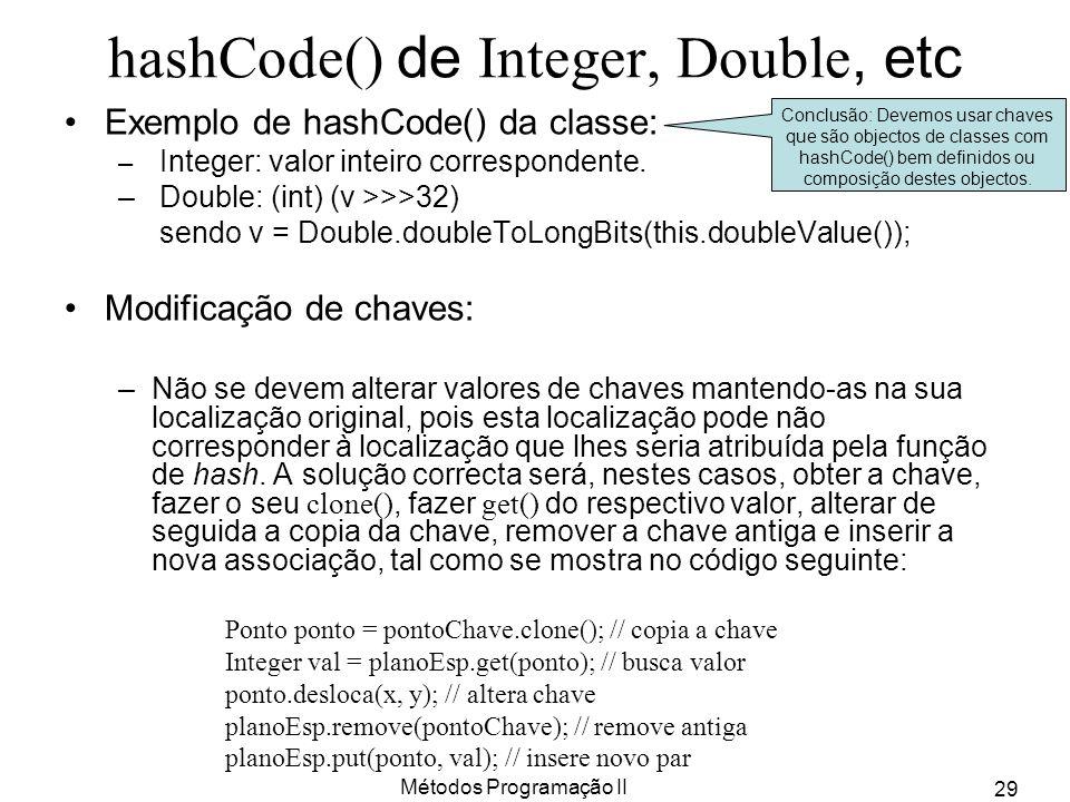 Métodos Programação II 29 hashCode() de Integer, Double, etc Exemplo de hashCode() da classe: – Integer: valor inteiro correspondente. – Double: (int)