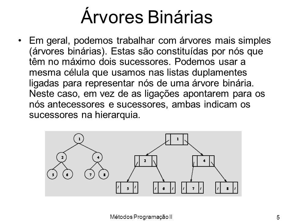 Métodos Programação II 5 Árvores Binárias Em geral, podemos trabalhar com árvores mais simples (árvores binárias). Estas são constituídas por nós que
