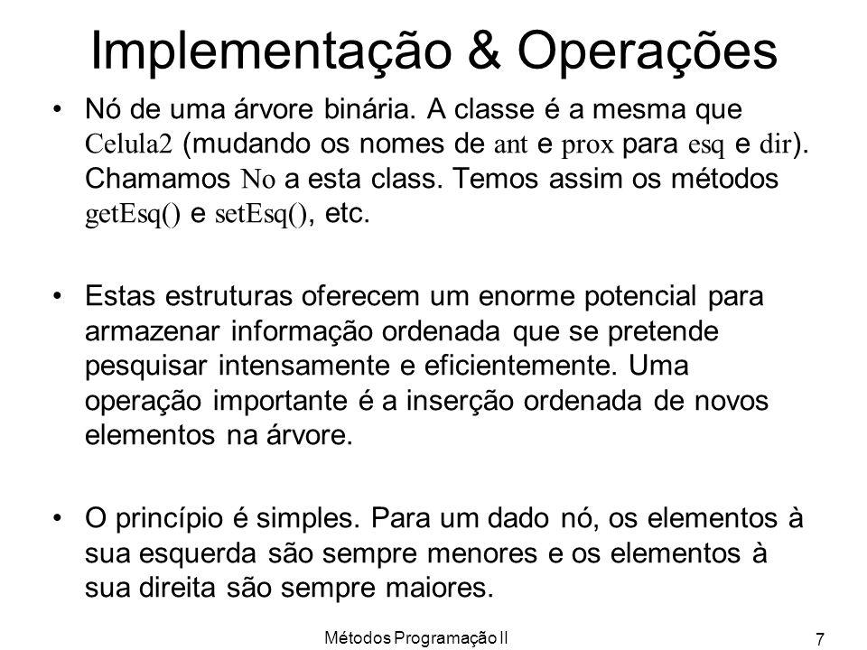 Métodos Programação II 7 Implementação & Operações Nó de uma árvore binária. A classe é a mesma que Celula2 (mudando os nomes de ant e prox para esq e