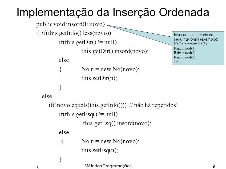 Métodos Programação II 9 Implementação da Inserção Ordenada public void insord(E novo) {if(this.getInfo().less(novo)) if(this.getDir() != null) this.g