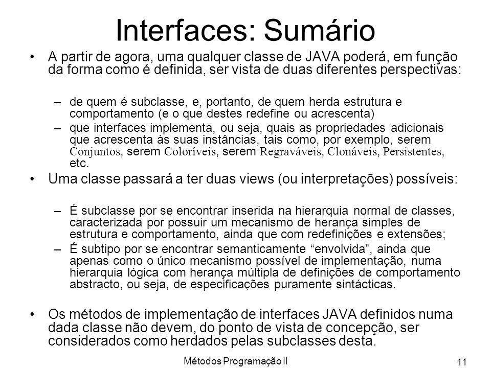 Métodos Programação II 11 Interfaces: Sumário A partir de agora, uma qualquer classe de JAVA poderá, em função da forma como é definida, ser vista de