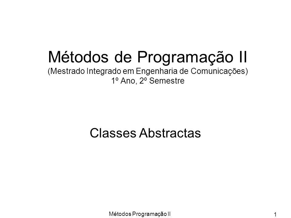 Métodos Programação II 1 Métodos de Programação II (Mestrado Integrado em Engenharia de Comunicações) 1º Ano, 2º Semestre Classes Abstractas