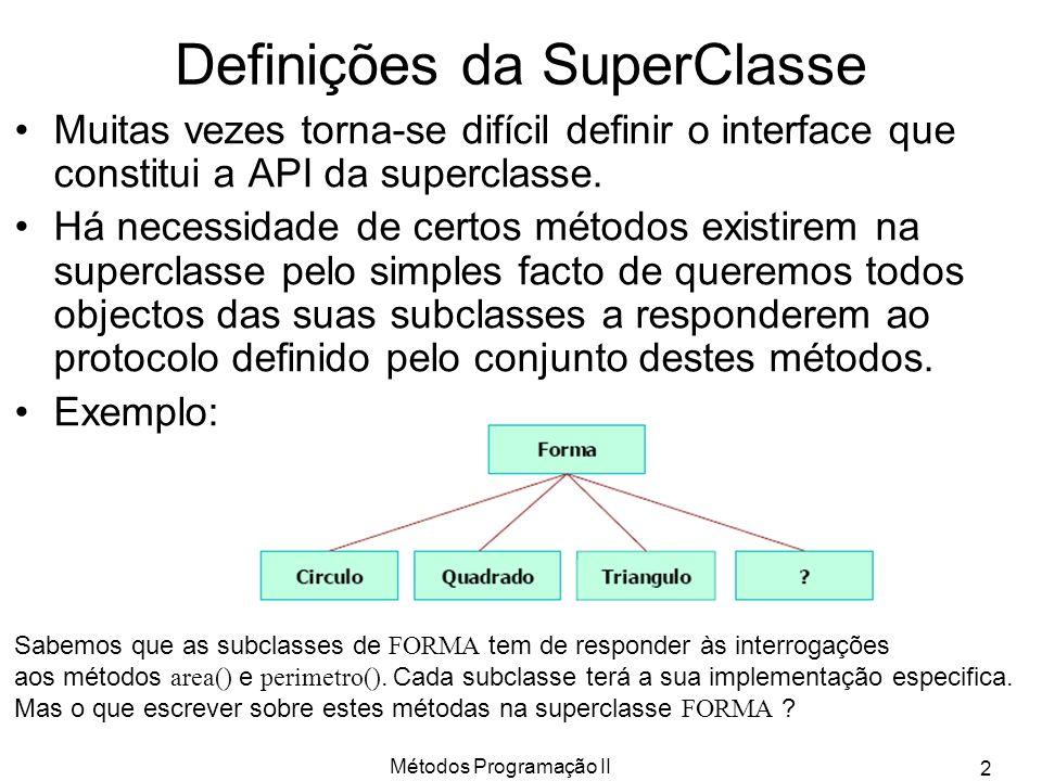 Métodos Programação II 2 Definições da SuperClasse Muitas vezes torna-se difícil definir o interface que constitui a API da superclasse.