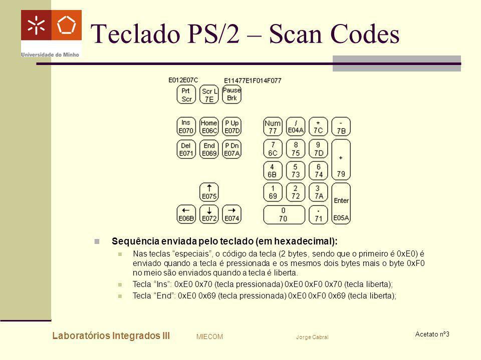 Laboratórios Integrados III MIECOM Jorge Cabral Acetato nº3 Teclado PS/2 – Scan Codes Sequência enviada pelo teclado (em hexadecimal): Nas teclas espe