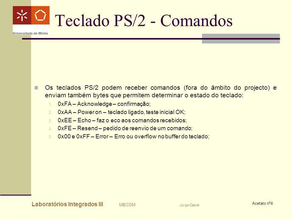 Laboratórios Integrados III MIECOM Jorge Cabral Acetato nº4 Teclado PS/2 - Comandos Os teclados PS/2 podem receber comandos (fora do âmbito do project