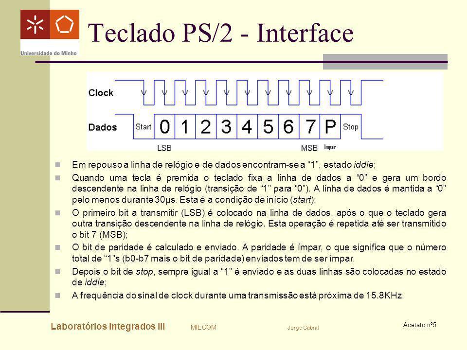Laboratórios Integrados III MIECOM Jorge Cabral Acetato nº5 Teclado PS/2 - Interface Em repouso a linha de relógio e de dados encontram-se a 1, estado