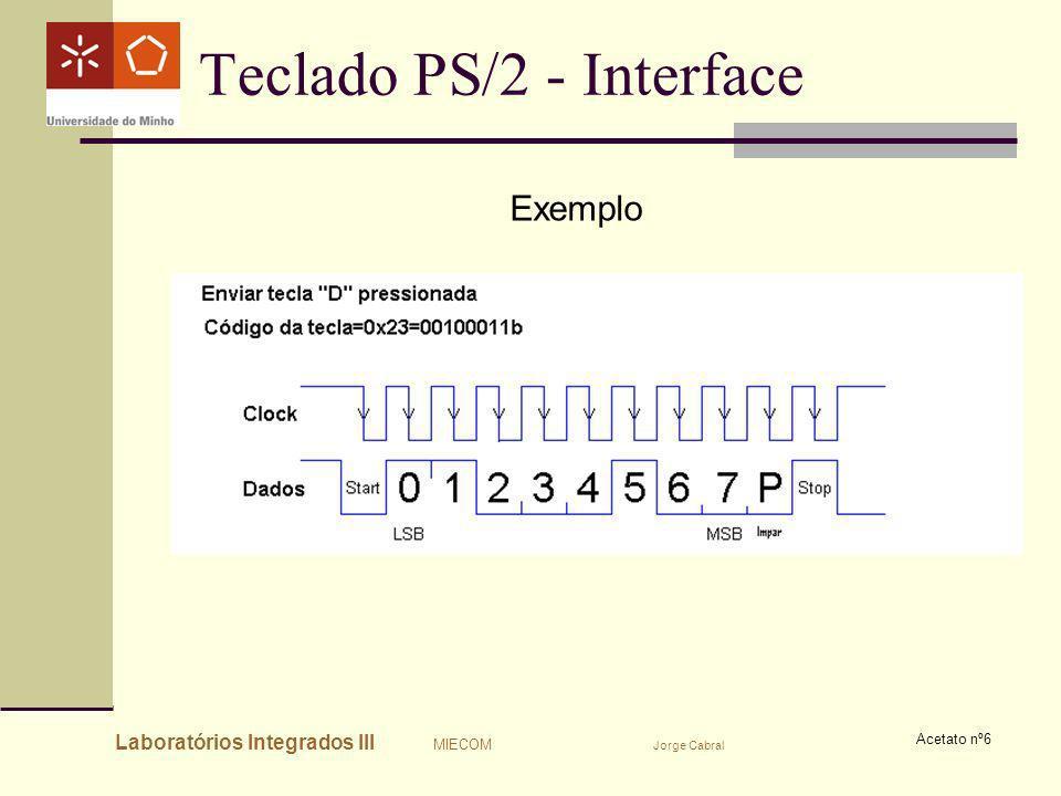 Laboratórios Integrados III MIECOM Jorge Cabral Acetato nº6 Teclado PS/2 - Interface Exemplo